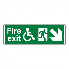 Wheelchair Fire Exit Arrow Down Right Sign