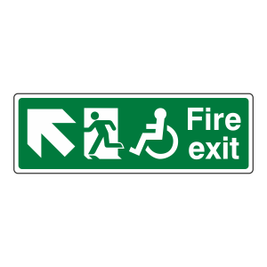 Wheelchair Fire Exit Arrow Up Left Sign