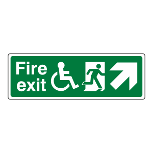Wheelchair Fire Exit Arrow Up Right Sign