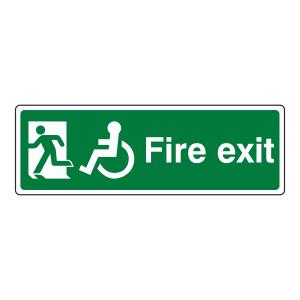 Wheelchair Final Fire Exit Man Left Sign