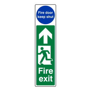 Fire Exit Door Plate Man Right / Door Remain Unlocked Sign