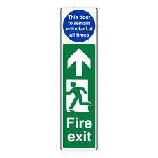 Fire Exit Door Plate Man Left  / Door Remain Unlocked Sign