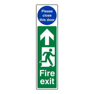 Fire Exit Door Plate Man Right / Please Close This Door Sign