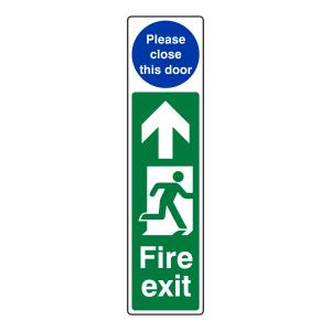 Fire Exit Door Plate Man Right / Please Close This Door Sign