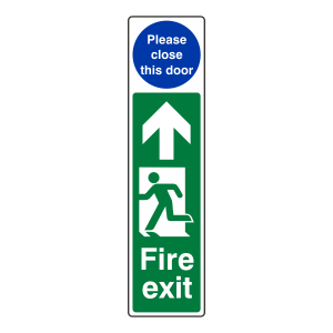 Fire Exit Door Plate Man Left / Please Close The Door Sign