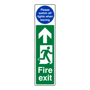 Fire Exit Door Plate Man Right / Switch Off Lights Sign