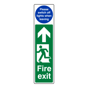 Fire Exit Door Plate Man Left / Switch Off Lights Sign