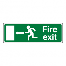 EC Fire Exit Arrow Left Sign (with Text)