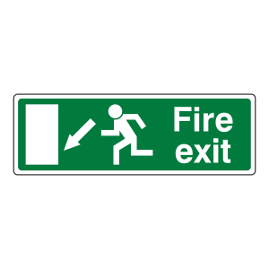 EC Fire Exit Arrow Down Left Sign (with Text)