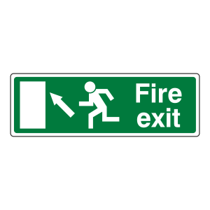 EC Fire Exit Arrow Up Left Sign (with Text)