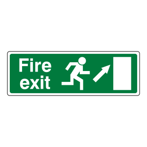 EC Fire Exit Arrow Up Right Sign (with Text)