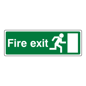 EC Final Fire Exit Man Right Sign (with Text)
