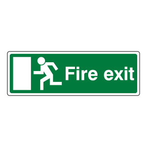 EC Final Fire Exit Man Left Sign (with Text)