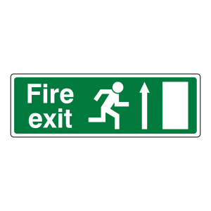 EC Fire Exit Arrow Up Sign (with Text)