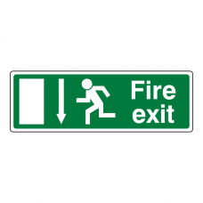 EC Fire Exit Arrow Down Sign (with Text)