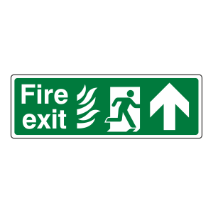 NHS Fire Exit Arrow Up Sign