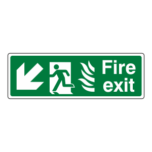 NHS Fire Exit Arrow Down Left Sign