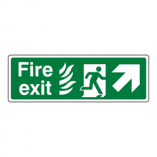 NHS Fire Exit Arrow Up Right Sign
