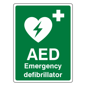 Emergency Defibrillator Sign (Portrait)