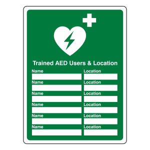 Trained AED Users and Location Sign (Portrait)