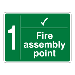 Fire Assembly Point With Tick and Number Sign