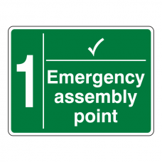 Emergency Assembly Point With Tick and Number Sign
