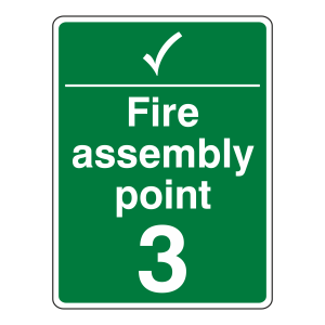 Fire Assembly Point With Tick and Number Sign (Portrait)