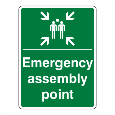 Emergency Assembly Point With Family Sign (Portrait)
