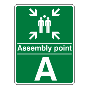 Assembly Point With Family and Letter Sign (Portrait)