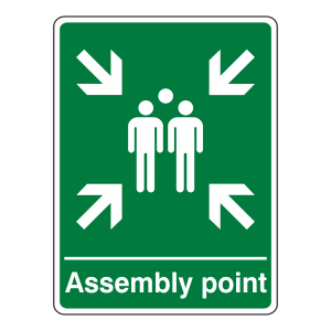 Assembly Point With Family Sign (Portrait)