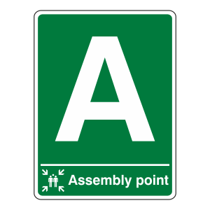 Assembly Point With Letter Sign (Portrait)