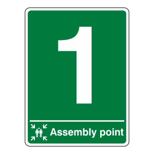Assembly Point With Number Sign (Portrait)