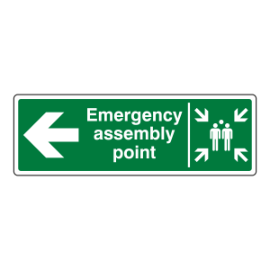 Emergency Assembly Point Arrow Left Sign