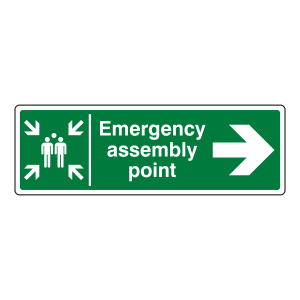 Emergency Assembly Point Arrow Right Sign