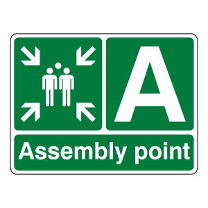 Assembly Point With Family and Letter Sign
