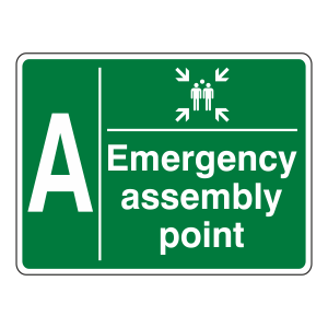 Emergency Assembly Point With Family and Letter Sign