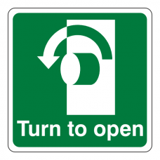 Turn To Open Anti-Clockwise Sign