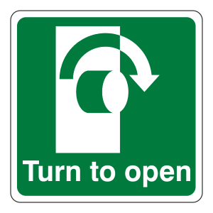 Turn To Open Clockwise Sign