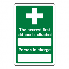 Nearest First Aid Box / Person in Charge Sign (Portrait)