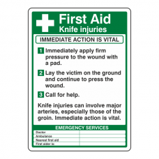 First Aid Knife Injuries Sign (Portrait)