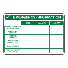 Emergency Information Sign (Landscape)