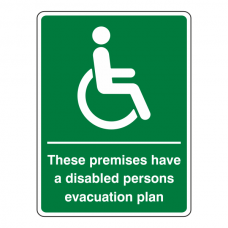Premises Have Disabled Persons Evacuation Plan Sign (Portrait)