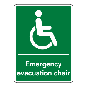 Emergency Evacuation Chair Sign (Portrait)