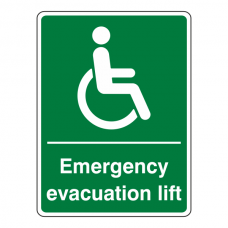 Emergency Evacuation Lift Sign (Portrait)