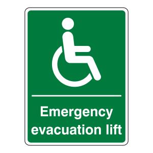 Emergency Evacuation Lift Sign (Portrait)