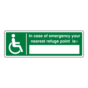 In Case Of Emergency Your Nearest Refuge Point Is Sign (Landscape)