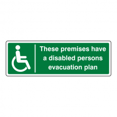 Premises Have Disabled Persons Evacuation Plan Sign (Landscape)
