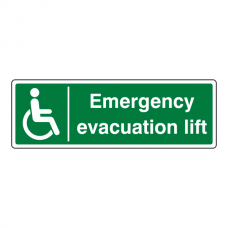 Emergency Evacuation Lift Sign (Landscape)
