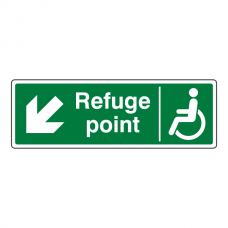 Refuge Point Arrow Down Left Sign