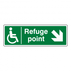 Refuge Point Arrow Down Right Sign